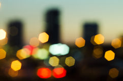 Bluring. Evening city with lights & with sunset - it's very beautiful royalty free stock photography