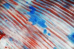 Blurred闪耀的激情白色蓝色红色银斑点纹理油漆水彩斑点 免版税库存图片