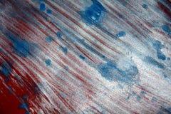 Blurred闪耀的激情白色蓝色红色银纹理油漆水彩斑点 免版税库存照片