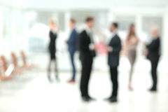 Blurred abstract background of business discussion people group. stock image