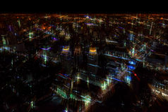 Blurred abstract background city nigh tview. Blurred abstract background lights, beautiful top view of Bangkok City at night Royalty Free Stock Photography