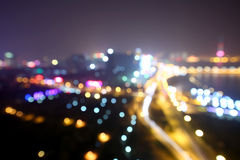 Blurred abstract background lights, beautiful cityscape view. Stock Image