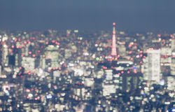 Blurred abstract background lights of beautiful Tokyo cityscape royalty free stock photos