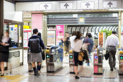 Blurred abstract background of many people on subway train, japa Stock Photography