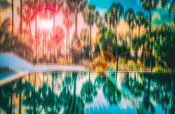 Blurred abstract background photo of forest with surreal motion blur effect Stock Photos