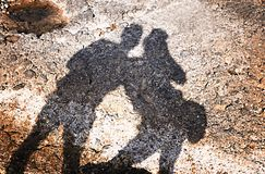 Blurred abstract background of sun shadows of people on earth in Turkey. Travelers and tourism stock images