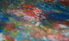 Blurred blue red orange pastel creative paint hues. Abstract paint watercolor background Stock Photography