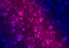 Blurred abstract blue-purple bokeh background as texture with stars, diamonds. Motion simulation, stylish geometric decor royalty free illustration