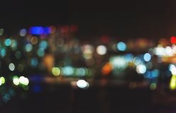 Blurred abstract bokeh background of Tokyo, Japan. At night Royalty Free Stock Photos