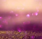 Blurred abstract brown and purple bokeh lights and textures. image is defocused Stock Image