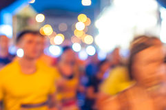 Blurred abstract crowd and Lights. Night marathon Stock Photography