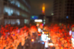 Blurred abstract of Illumination and Tokyo tower Stock Image