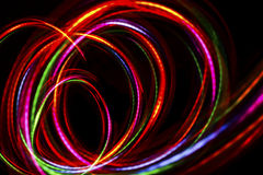 Blurred abstract line from LED light. On the black background Royalty Free Stock Photo
