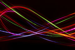 Blurred abstract line from LED light. On the black background Stock Photos