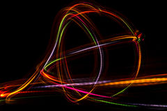 Blurred abstract line from LED light. On the black background Stock Images