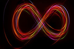 Blurred abstract line from LED light. On the black background Stock Image