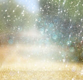 Blurred abstract photo of light burst among rtees and glitter bokeh lights. filtered image and textured. Stock Photos