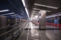 Blurred abstract view of metro station in Moscow Stock Photo