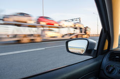 Blurred action. From car at high speed Royalty Free Stock Photo