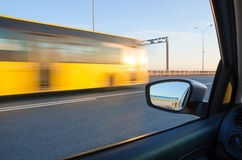 Blurred action from car. At high speed Royalty Free Stock Photo