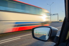 Blurred action from car. At high speed Royalty Free Stock Image