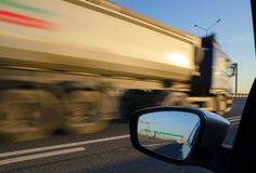 Blurred action from car. At high speed Stock Photo