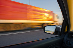Blurred action from car. At high speed Stock Photos