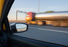 Blurred action from car. At high speed Stock Images