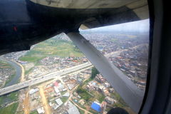 Blurred aerial view of Kathmandu city Royalty Free Stock Photography