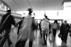 Traveler silhouettes in motion blur royalty free stock photo