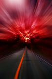 Blurred asphalt road and red bloody blurred sky. Abstract adventure afraid asphalt auto bloody blur stock images