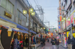 Blurred background Ameyoko Shopping Street in tokyo,Japan.Ameyok. O is a busy market street along the Yamanote near Ueno Stations Royalty Free Stock Images