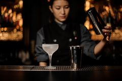 Bartender girl holding a steel shaker on the foreground of ice glass. Blurred background of a bartender girl holding a steel shaker on the foreground of ice royalty free stock photos
