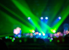 Blurred background : Bokeh lighting in concert with audience ,Mu Stock Images