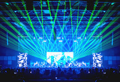 Blurred background : Bokeh lighting in concert with audience ,Mu Stock Photography