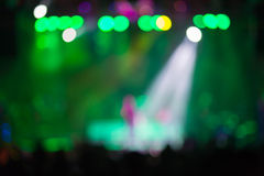 Blurred background : Bokeh lighting in outdoor concert with cheering audience Stock Images