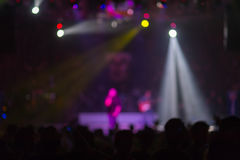 Blurred background : Bokeh lighting in outdoor concert with cheering audience Royalty Free Stock Photography