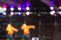 Blurred background : Bokeh lighting in stage with Dance showbiz Stock Photos