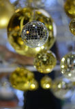Blurred Background : Christmas ball with bokeh color lights background.  Royalty Free Stock Images
