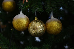 Blurred Background : Christmas ball with green blurred background Stock Photography
