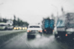 Blurred background of city road with cars   cloud day Royalty Free Stock Photo