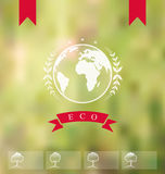 Blurred background with eco badge, ecology label Royalty Free Stock Image