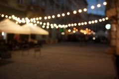 Blurred night city empty street background with bokeh stock images