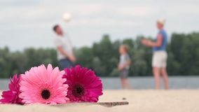Blurred background of family playing ball Stock Photos