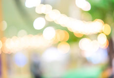 Blurred background : Festival area in shopping mall with bokeh.  Royalty Free Stock Images
