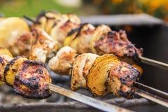 Blurred background Fried kebab on skewers Stock Photos