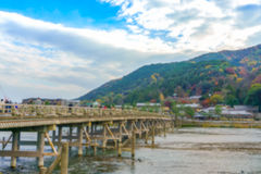 Blurred background Katsura River and Togetsukyo Bridge in Arashi Royalty Free Stock Photos