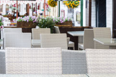 Blurred background of outdoor modern cafe terrace Stock Photography