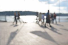 Blurred background of people activities in park with bokeh, spring and summer season. Royalty Free Stock Photos