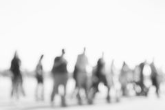 Blurred background of people activities in park with bokeh, spring and summer season. Blurred people near lake. Black and white Stock Photography
